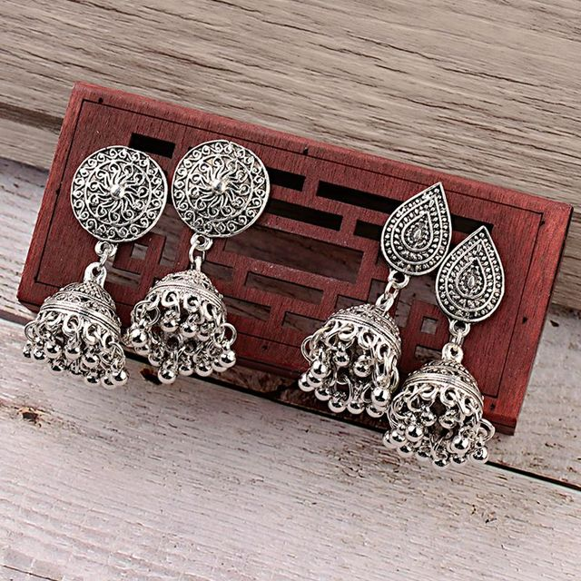 India Retro Birdcage Earrings Handmade Antique Silver Color Tribal Jewelry BOHO Hippie Wind Pakistani Muslim Thailand Nepal