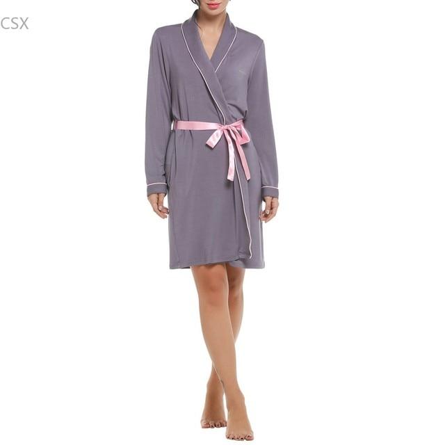 Сексуальные женщины кимоно халат женщины банный халат с поясом весна мягкая ночное с длинным рукавом темно-синий и серый пижамы