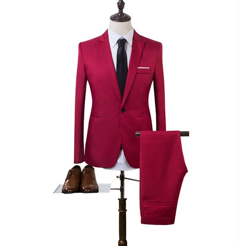 D'affaires Slim Fit Costume Mode Marque Ciel Avec rouge gris De Bouton kaki Un Pantalon Veste Homme Le Blazer Mariage Décontracté Pour Hommes Costumes Noir pu YC0xqfU