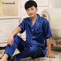 2016 Pijamas de lujo Para Los Hombres de Verano de Manga Corta Pantalones Pijamas de Satén de Seda de Seda de Los Hombres Del Sueño Salón Conjuntos de Pijamas Más tamaño 3XL