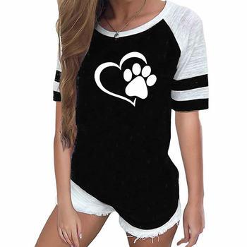 2019 Nova Moda Amor Dog Paw Print Top Shirt Mulheres Plus Size Raglan Rosa T-shirt Tumblr Cropped Bonito 1