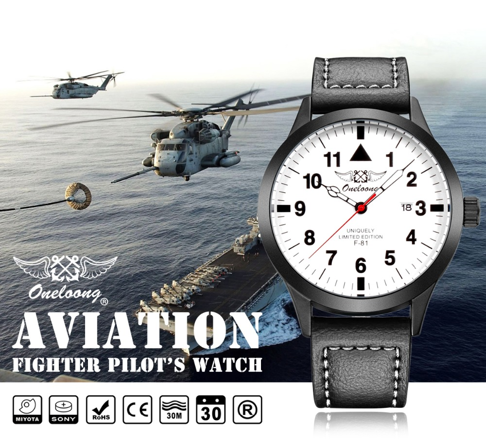 Aviator Military Watch Top Luxury Brand Waterproof Date Genuine Leather Sport Men Watch Quartz Watch Clock Reloj Hombre Relogio 2017 xinew brand luxury men s watch aviator white automatic mechanical date day leather band quartz wrist watch military clock