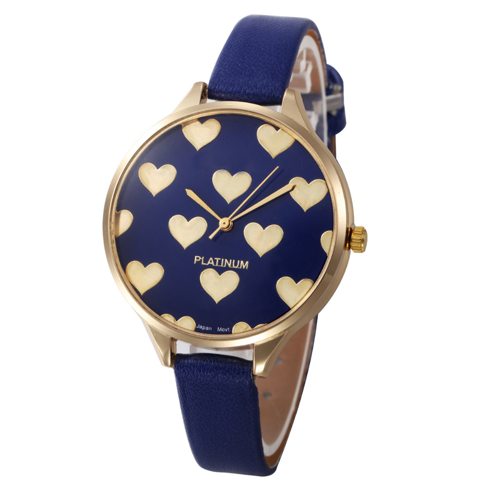 Casual Watches Women Checker Heart Clock Ultra Thin Leather Band Female Quartz Watch Waterproof Relogio Feminino Wholesale @30