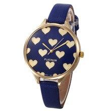 Casual Watches Women Checker Heart Clock Ultra Thin Leather Band Female Quartz