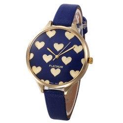 Relógios casuais Mulheres Checker Coração Relógio Pulseira de Couro Ultra Fino Feminino Quartz Watch Relogio feminino À Prova D' Água Por Atacado Novo M