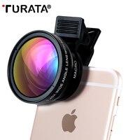 Turata 0.45x grande angular + 12.5x lente macro profissional hd lente da câmera do telefone para o iphone 8 7 6 s mais 5 5S se xiaomi samsung lg|lens for iphone|phone camera lens|macro lens -
