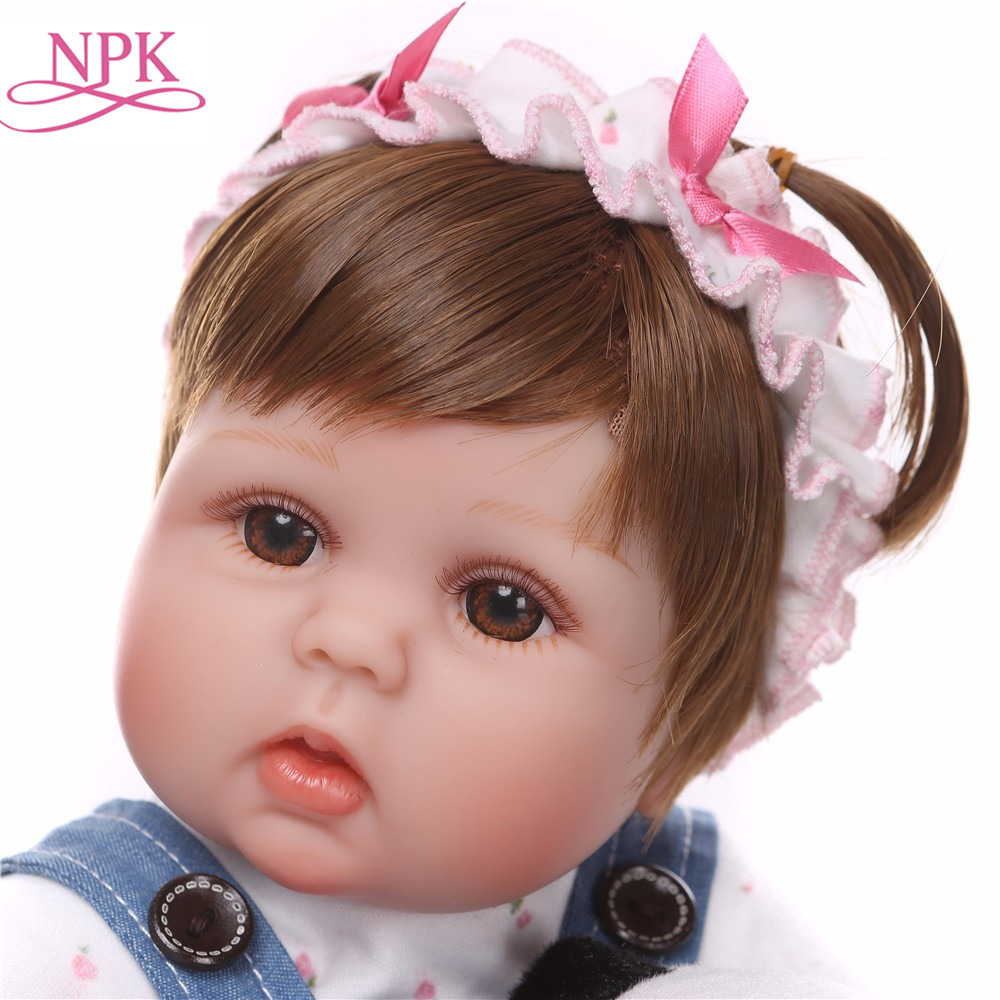 NPK Cute Silicone Reborn Dolls Baby Menina Alive 17'' Newborn Baby Doll with Big Eyes Bebe Baby Girls Gift Kids Playmates