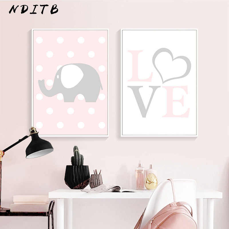 Baby Girl Nursery Wall Art Canvas Painting Cartoon Posters Quotes Prints Nordic Kids Decoration Pictures Children Bedroom Decor