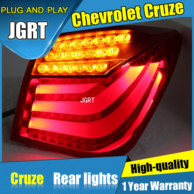 2PCS Car Styling for Chevrolet Cruze Tail Lights 2014 for Cruze LED Tail Lamp+Turn Signal+Brake+Reverse LED light car styling tail lights for chevrolet cruze led taillights tail lamp rear trunk lamp cover drl signal brake reverse
