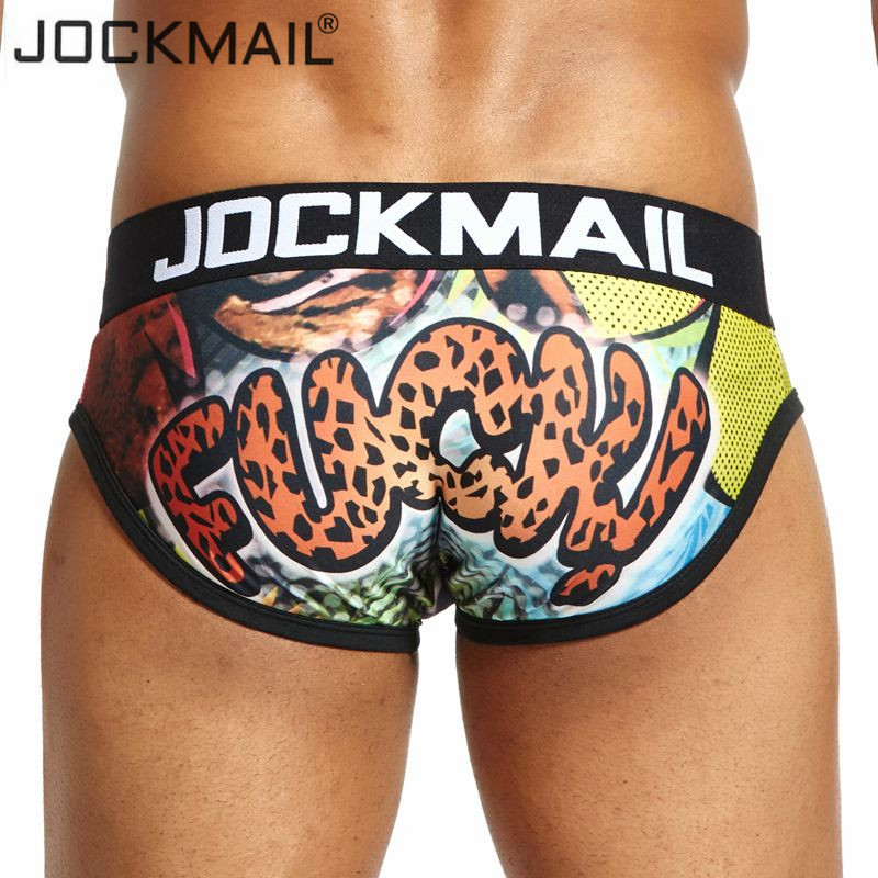 JOCKMAIL Sexy Men Underwear Print Cartoon Briefs Shorts Bulge Pouch Underpants Clothing Gay Underwear Calzoncillos Hombre Slips