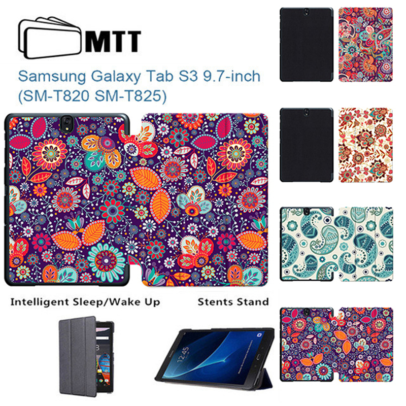 MTT For Samsung Tab S3 T820 Case Paisley Flowers Painted Funda for Samsung Galaxy Tab S3 9.7 SM-T820 T825 Smart Tablet Cover hot with show ink level chip for epson stylus pro 7700 9700 ink cartridge for epson wide format printer