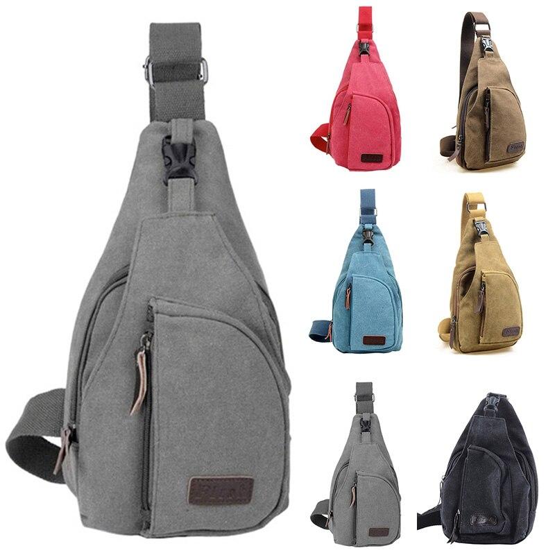 Hot Unisex Canvas Chest Back Pack Riding Crossbody Shoulder Bag Men Women Diagonal Package Rucksacks