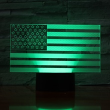 American flag Usb 3d Led Night Light Atmosphere Lamp Decoration RGB Kids Baby Gift the Stars and Stripes Table Bedside