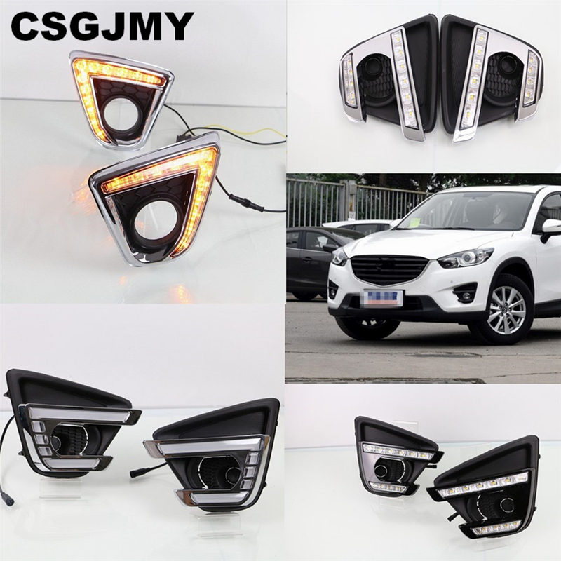 car flashing 1set Turn Signal car drl daytime running lights with fog lamp hole for Mazda