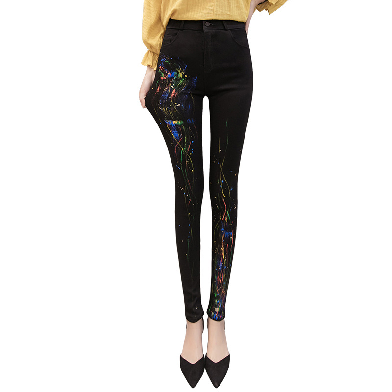 Women Black Skinny   Jeans   High Waisted Stretchy   Jeans   Slim Femme Graffiti Push Up   Jeans   Tight Colored Denim Pencil Pants New