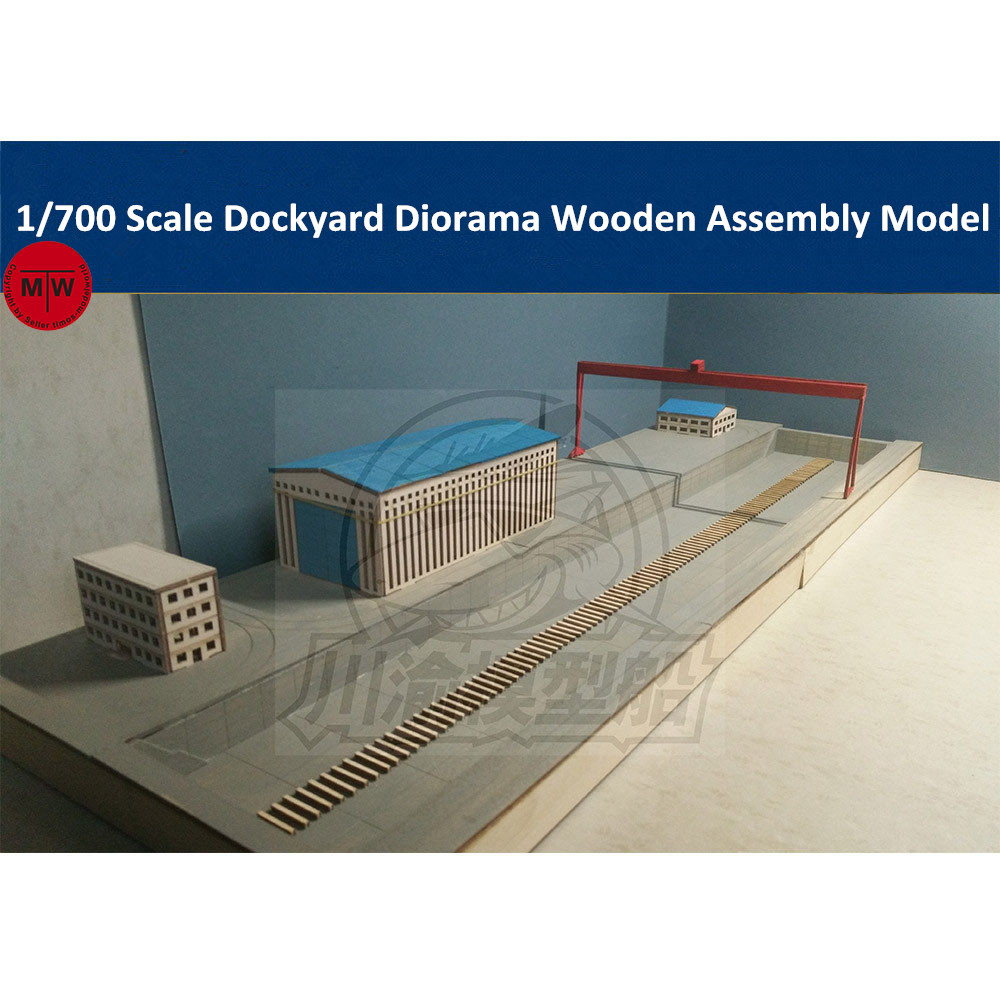 1/700 Scale Shipyard Dockyard Diorama DIY Wooden Assembly Model Kit With Crane And Buildings CY703