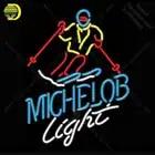 Michelob Luce Sciatore della Neve Neon sign Tubo di Vetro Lampadine Light Club icone luce Birra Camera segni Negozio Decorazione Cartello Fatti A Mano - 1