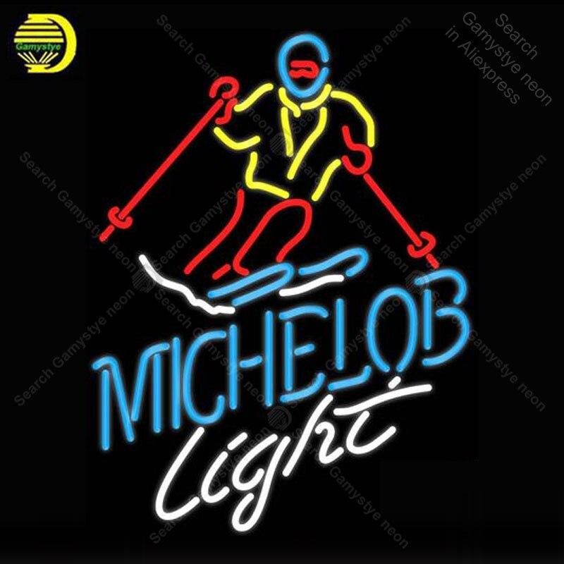 Michelob lumière neige skieur néon signe verre Tube ampoules lumière Club icônes lumière bière chambre signes magasin décoration enseigne à la main