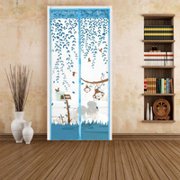Romantic Painted Avoiding Screen Door Mosquito Curtains Gauze Curtains Blue Brown Purple Blue House Decoration