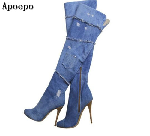 Apoepo brand over the knee high heel boots for woman 2018 newest pointed toe thigh high boots fashion thin heels long boots choudory 2017 runway denim blue over the knee boots sexy open toe high heel boots woman thigh high boots thin heels jeans boots