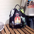 Oxford cloth with leather leather shoulder bag  2016 new Korean fashion backpack stamp 6503