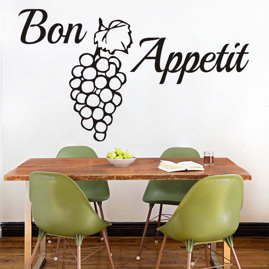 French Word Bon Appetit Wall Decal Grape Quotes Wallpaper PVC Wall Sticker  Kitchen Dining Room Removable Wall Art 3D Home Decor In Wall Stickers From  Home ... Part 86