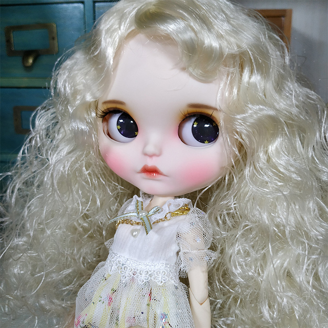 Blyth Doll 1/6 Joint Body hand painted matte face white skin Cute golden explosion curls suit DIY BJD SD toy gift AB hand set