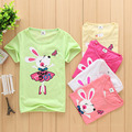 2016 летние Девушки парни футболки Счастливый кролик shopkin Детей Детские Кофточки рядом детская одежда мультфильм хлопок Топы и Тис novatx