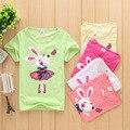 2016 del verano muchachos de Las Muchachas camisetas conejo Feliz shopkin Niños Blusa Bebé siguiente niños ropa Tops y Camisetas de algodón de dibujos animados novatx