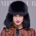 Genuine Fox Fur Hats Raccoon Cap Lei Feng for Men Russians Chapeau Bomber Leather Top Winter Thicken Warm Ski Gorros