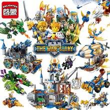 Enlighten Glory войны развивающие строительные блоки игрушки для детей Подарки Замок Рыцарь герои оружие эльф Гриффин Совместимость Legoe