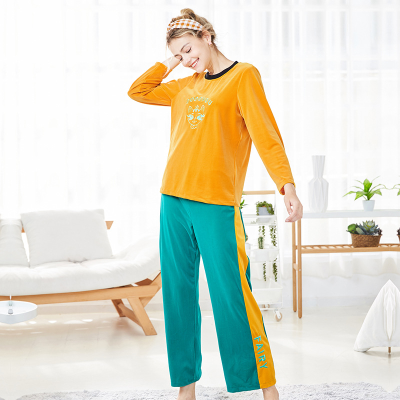 Velvet pajamas set female autumn and winter ladies long-sleeve pullover contrasted color home two-piece suit plus size pleuche