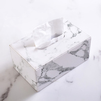 Kitchen Accessory Napkin Holder Box Napkin Holder Marble Pattern Tissue Holder Seat Type Tissue Box Holder,Leather Tissue Box