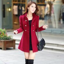 Новая мода Женское Трендовое двубортное шерстяное пальто со стоячим воротником Осень Зима Женское шерстяное пальто средней длины