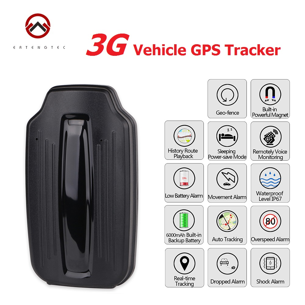 Car Tracker 3G WCDMA Vehicle GPS Locator LK209A Magnet 6000mAh Standby 70 Days Realtime Tracking Dropped Alarm Ublox Chipset