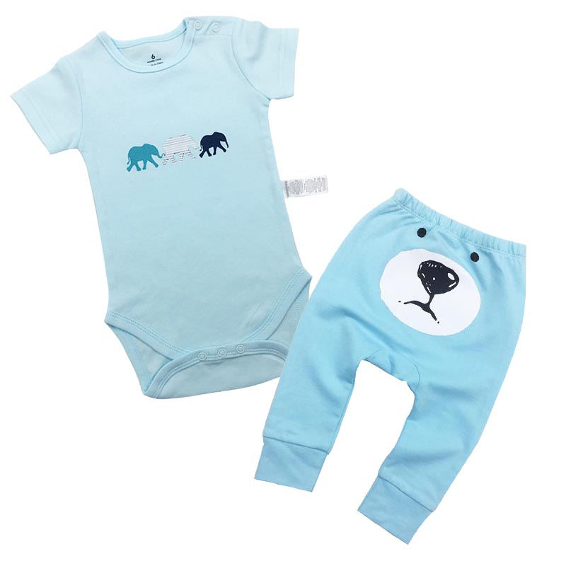 Newborn Baby Boy girl Summer Clothes 2018 Baby Boys Set Pants Cotton Baby Clothing romper Suit (Shirt+Pants) Infant Clothes Set