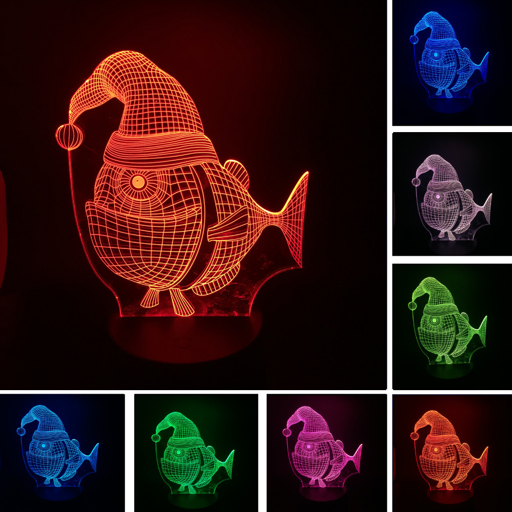 Cartoon 3D Lovely Fish LED Touch Dimming 7 Color Gradient Lamp Night Light Christmas Hat Sleeping Child Baby Kids Xmas Toy Gift