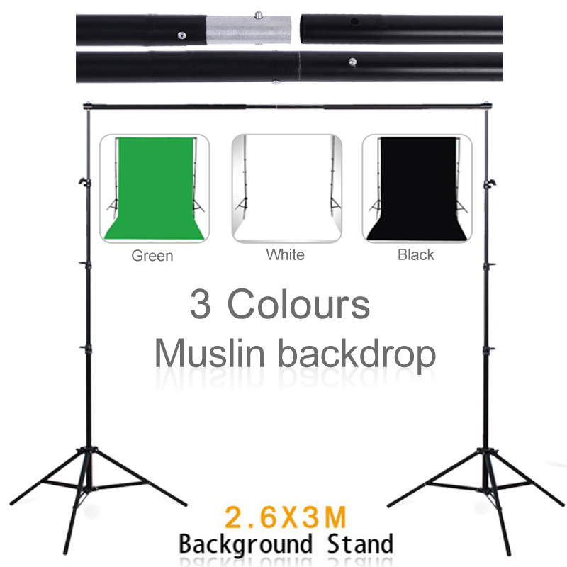 Background 3PCS 3*2M Green Black White Muslin Backdrops Cotton Chromakey 2.6*3M Support Stand Photo Studio Kit for Photo