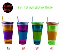 New 2 In 1 Snack Drink Bottle With Flip Top Lid 4 Oz Snack Cup 16