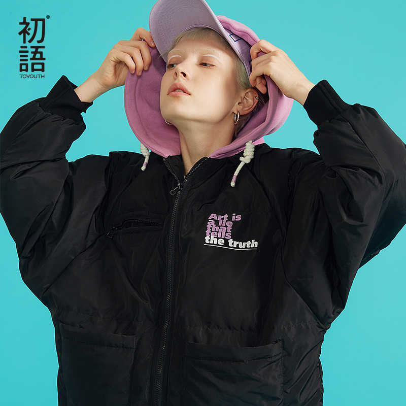 Toyouth חורף נשים קצר מעיילי סלעית מרופד להאריך ימים יותר מעילים חמים עיבוי נים מעיל מזדמן מעיל Streetwear 2019