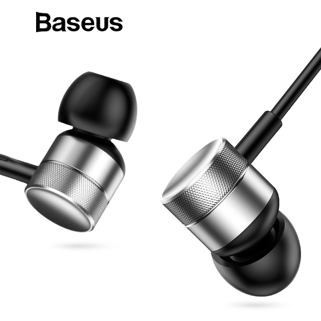 Baseus H04 Bass Sound Earphone In-Ear Sport Earphones with mic for xiaomi iPhone Samsung Headset fone de ouvido auriculares MP3 Audio Audio Electronics Electronics Head phone Headphones & Headsets color: Black|red|Rose Gold|Silver