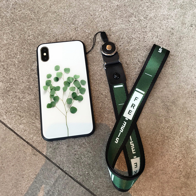 buy popular c35e9 2fed2 US $3.75 20% OFF|Flower Leaf Tempered Glass Case For iPhone 7 Plus X Fresh  rope lanyard Neck Back Cover Case For iPhone 7 8 Plus -in Fitted Cases from  ...