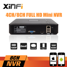 XINFI Newest Mini NVR Full HD 4 Channel 8 Channel Security Standalone CCTV NVR 1080P 4CH 8CH ONVIF 2.0 For IP Camera System 1080