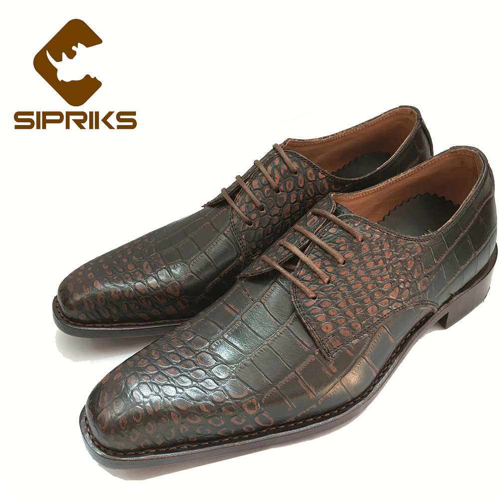 Sipriks Luxury Mens Goodyear shoes retro crocodile skin mens dress oxfords Italian custom formal shoes gents