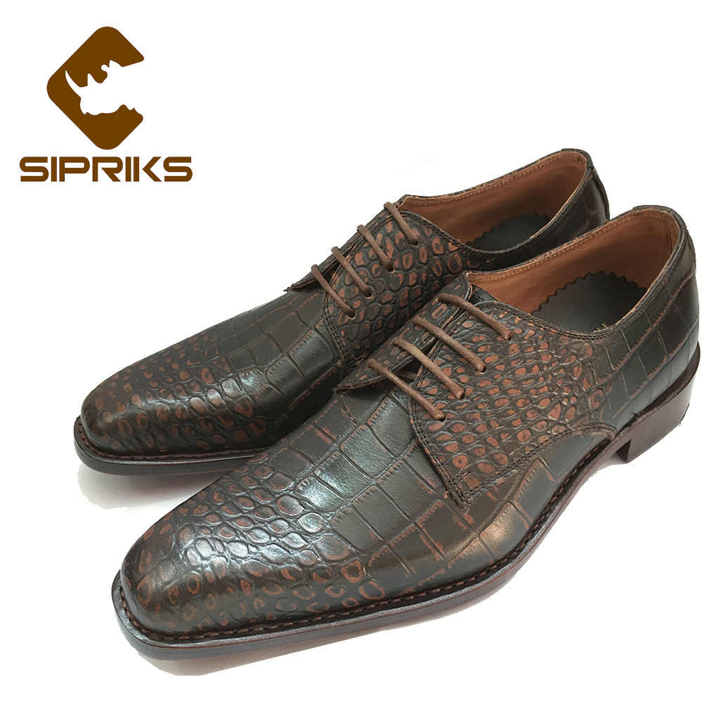 e57f53dd768a0 Sipriks Luxury Mens Goodyear shoes retro crocodile skin mens dress oxfords  Italian custom formal shoes gents suits male social