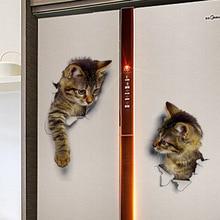 Hole View Vivid Cats 3D Wall Sticker Bathroom Toilet Living Room Kitchen Decoration Animal Vinyl Decals Art Sticker Poster