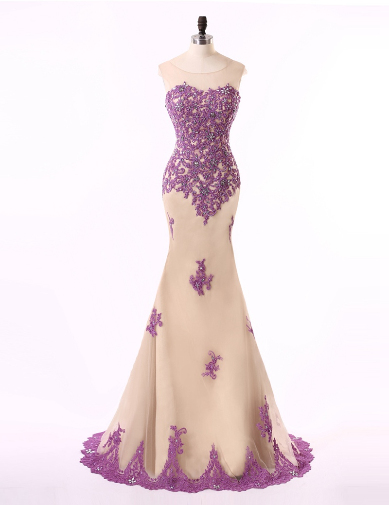 Elegant Mermaid 2018 Cheap Purple Lace Champagne Lace Long Evening Formal gown Robe De Soiree Long mother of the bride dresses