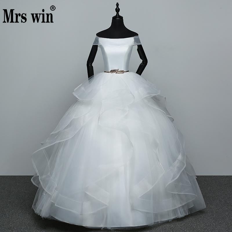 Vestido De Noiva Boat Neck Simple And Elegent Princess Belt Wedding Dresses Tulle Bridal Ball Gowns