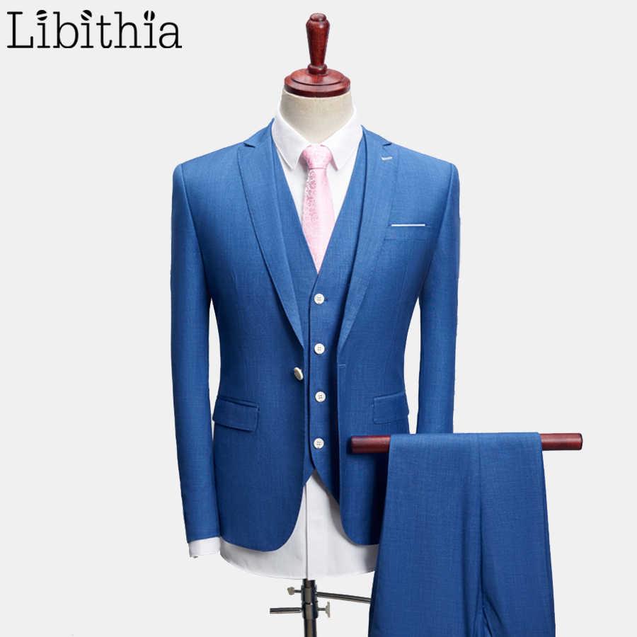 男性3ピース1ボタン高級スーツカジュアルスリムフィットジャケットパンツベストクラシック無地高品質ビッグサイズ4xl服f116