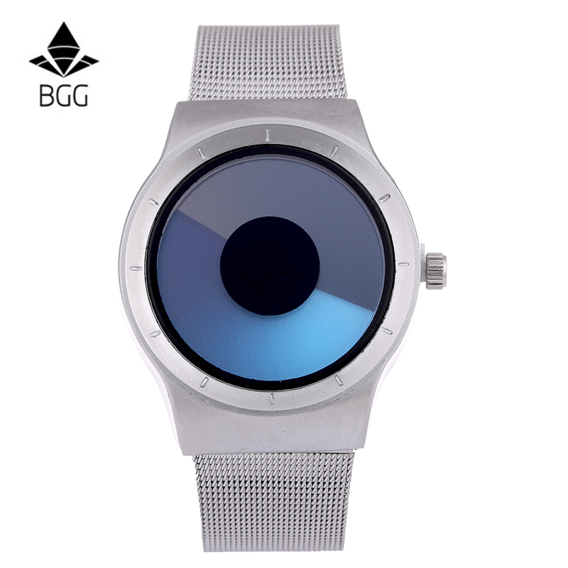 BGG Mens casual Watches Two Turntables female Business Quartz watch silver Mesh band Military Wristwatch male